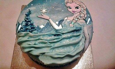 Arte in cucina. Torta per gli amanti di Frozen dipinta a mano