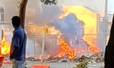Castelvetrano, incendio di rifiuti vicino l'isola ecologica in Viale Roma