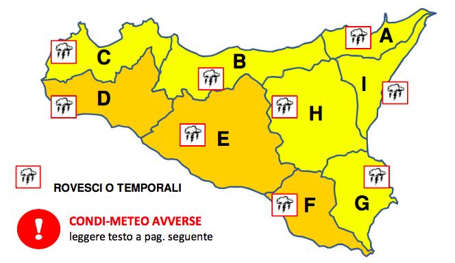 Allerta meteo arancione per domani, martedì 20 novembre