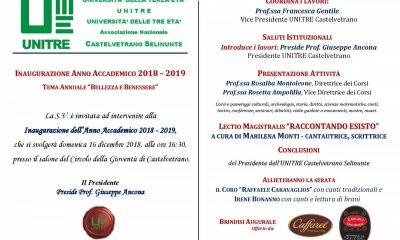 UNITRE Castelvetrano-Selinunte: Inaugurazione anno accademico 2018-2019