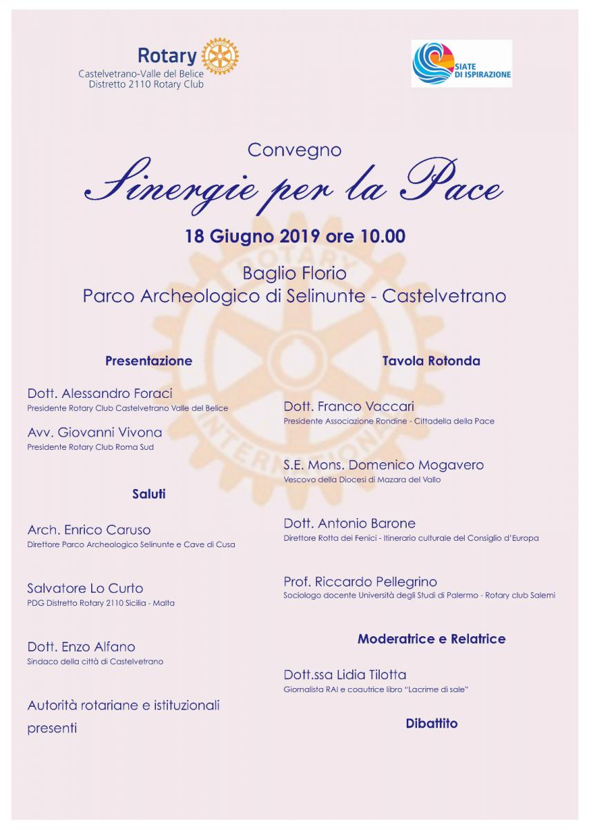 """Al Parco Archeologico di Selinunte il convegno """"Sinergie per la Pace"""" organizzato dal Rotary Club di Castelvetrano"""